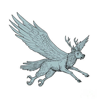 Mythical Creatures Digital Art - Peryton Flying Side Drawing by Aloysius Patrimonio