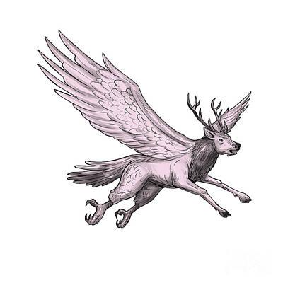 Mythical Creatures Digital Art - Peryton Flying Side Tattoo by Aloysius Patrimonio