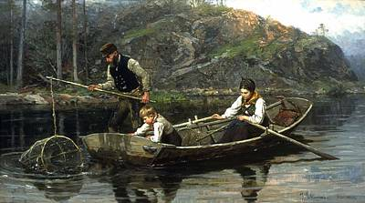Net Painting - Pesants Fishing by Mountain Dreams