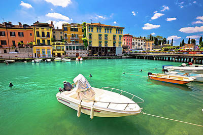 Photograph - Peschiera Del Garda Colorful Harbor And Boats View by Brch Photography