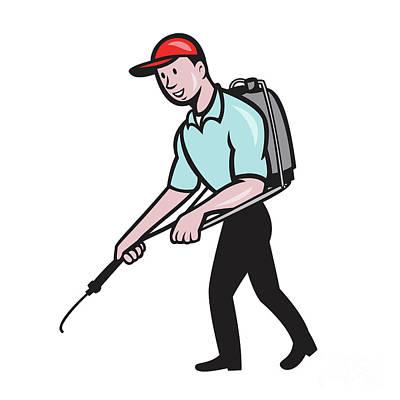 Pest Digital Art - Pest Control Exterminator Spraying Cartoon by Aloysius Patrimonio