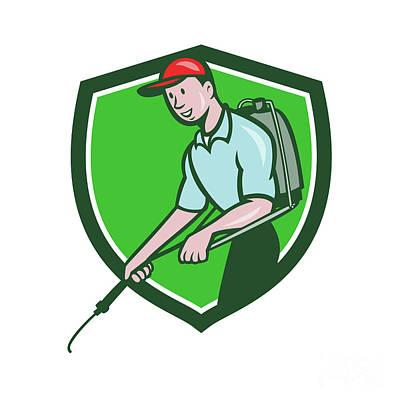 Pest Digital Art - Pest Control Exterminator Spraying Crest Cartoon by Aloysius Patrimonio