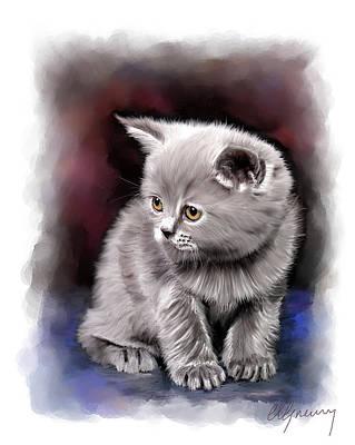 Pet Cat Portrait Art Print by Michael Greenaway