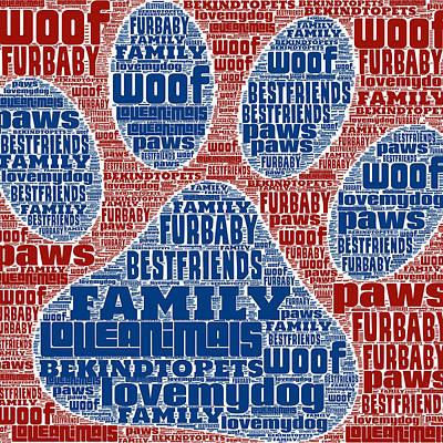 Puppy Love Mixed Media - Pet Love Paw Print by Brandi Fitzgerald