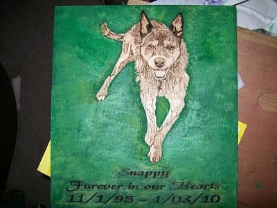 Pet Portrait Wood Burn Wall Plaque U Provide Picture By Pigatopia Art Print by Shannon Ivins