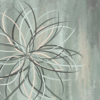 Painting - Petal Spikes - Blue And Gray Art by Lourry Legarde