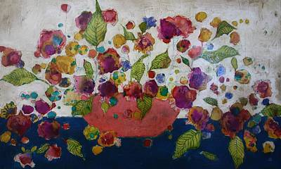 Mixed Media Still Life Painting - Petals And Leaves No. 2 by Jane Spakowsky