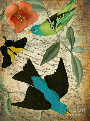 Petals And Wings V Print by Mindy Sommers