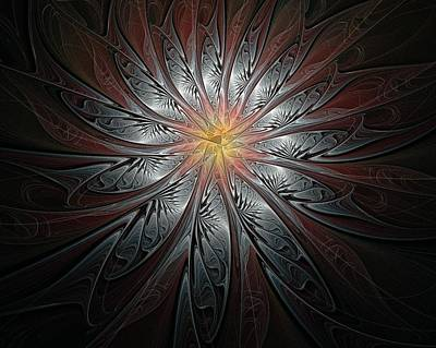 Framed Art Digital Art - Petals In Pewter by Amanda Moore