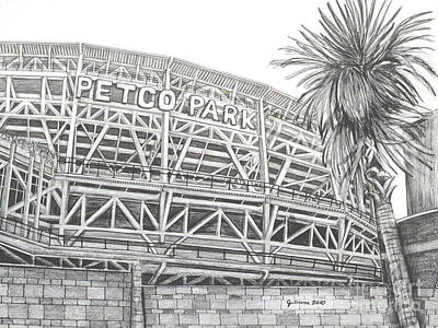 San Diego California Baseball Stadiums Drawing - Petco Park by Juliana Dube