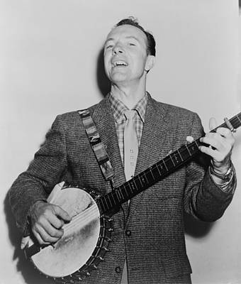 Folk Singer Photograph - Pete Seeger B. 1919 Singing Playing by Everett