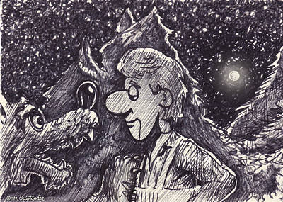 Drawing - Peter And The Wolf  by Cristophers Dream Artistry