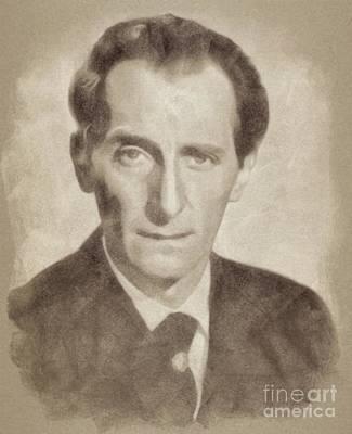 Peter Cushing, Acting Legend By John Springfield Art Print by John Springfield
