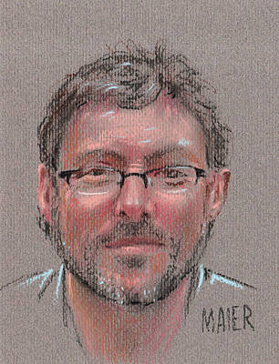 Pastel Portrait Drawing - Peter by Donald Maier