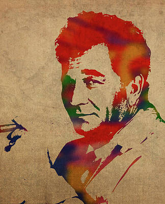 Peter Mixed Media - Peter Falk Columbo Watercolor Portrait by Design Turnpike