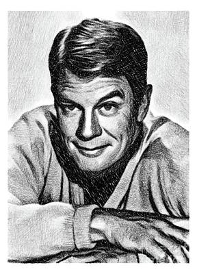 Musicians Drawings Rights Managed Images - Peter Graves, Vintage Actor by JS Royalty-Free Image by John Springfield