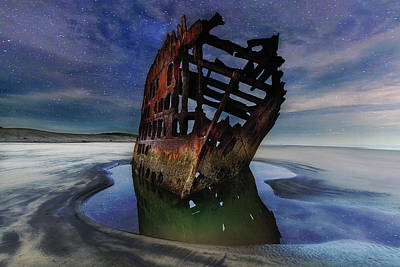 Pacific Northwest Photograph - Peter Iredale Shipwreck Under Starry Night Sky by David Gn