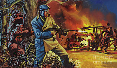 Painting - Peter Ortiz, The American Marine, Helping The French Maquis During Ww2 by Ron Embleton
