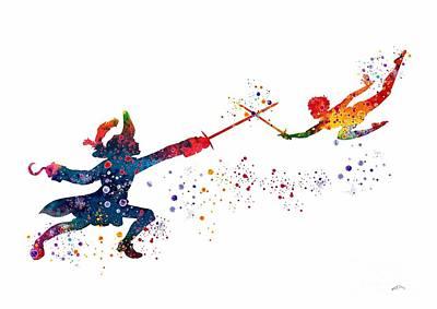 Captain Hook Digital Art - Peter Pan And Captain Hook by Svetla Tancheva
