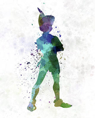 Spray Painting - Peter Pan In Watercolor by Pablo Romero