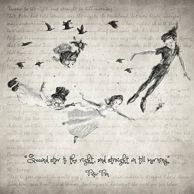 Drawing - Peter Pan Quote by Taylan Apukovska