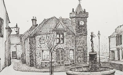 Pen And Ink Tree Drawing - Peter Pan Statue Kirriemuir Scotland by Vincent Alexander Booth