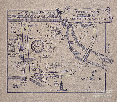 Peter Pan's Map Of Kensington Gardens Art Print