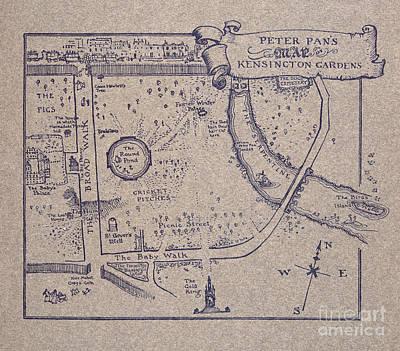 Peter Pan's Map Of Kensington Gardens Art Print