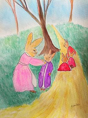 Painting - Peter Rabbit And Family by Anne Sands