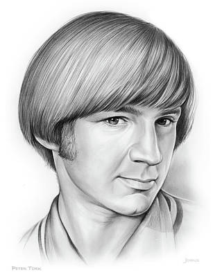 Musicians Drawings - Peter Tork by Greg Joens