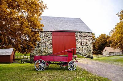 Pennsylvania Barn Digital Art - Peter Wentz Farmstead Barn In Autumn by Bill Cannon
