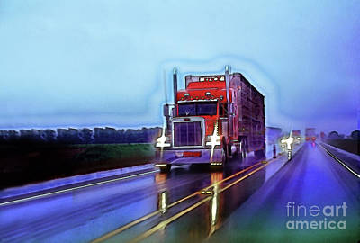 Photograph - Peterbilt Semi On A Rainy Evening by Wernher Krutein