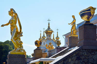 Photograph - Peterhof Palace Statues. by Terence Davis