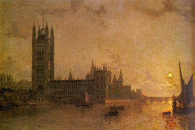 Westminster Abbey Digital Art - Pether Henry Westminster Abbey The Houses Of Parliament With The Construction Of Westminister Bridge by Henry Pether