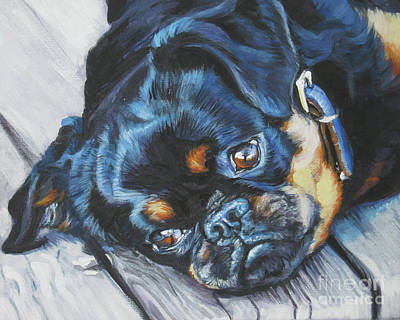 Griffon Wall Art - Painting - Petit Brabancon Brussels Griffon by Lee Ann Shepard
