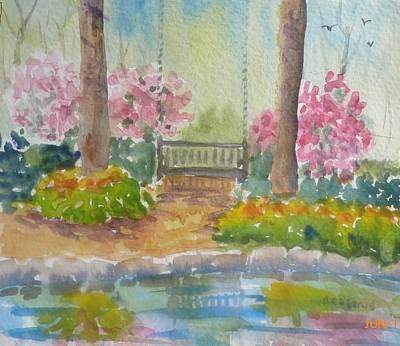 Painting - Petit Pond At Bedrock Garden  by Roseann Meserve