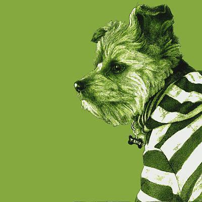 Dog Rescue Digital Art - Petite Bear Green by Lorraine Zaloom