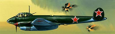 Bombs Bursting In Air Painting - Petlyakov Pe2 Russian Bomber by Wilf Hardy