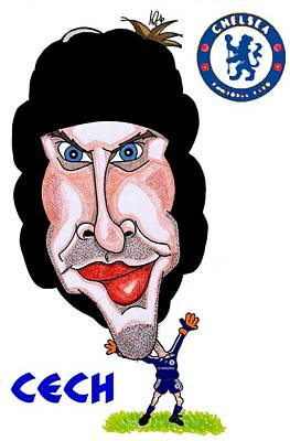 Goalkeeper Drawing - Petr Cech by Tom Glover