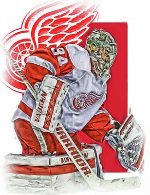 Mixed Media - Petr Mrazek Detroit Red Wings Oil Art by Joe Hamilton