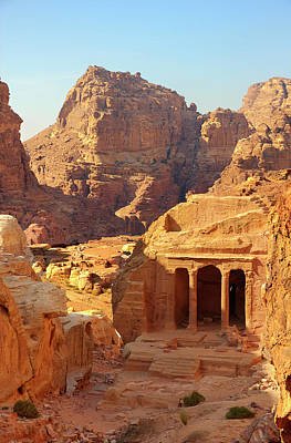 Petra Buildings, Pond And Gardens Complex Art Print