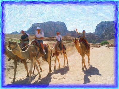 Digital Art - Petra Jordan Camel Ride by Donna L Munro