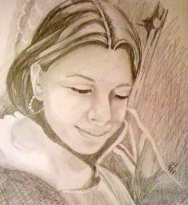 Drawing - Petra Portrait by Gyorgy Szilagyi