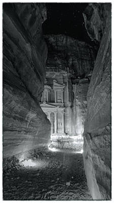 Nabatean Photograph - Petra Siq Night by Stephen Stookey