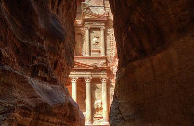 Photograph - Petra Treasury Revealed by Nigel Fletcher-Jones