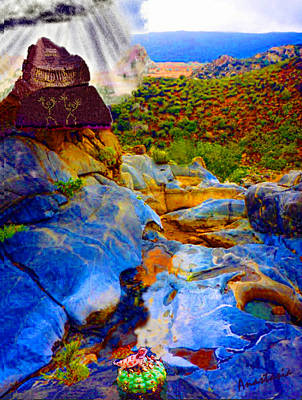 Digital Art - Petrichor In Petroglyphs On Rain Rocks Kumeyaay Impression by Anastasia Savage Ealy