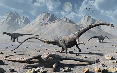 Carcass Digital Art - Petrified Diplodocus Dinosaurs by Mark Stevenson
