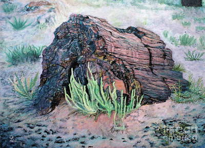 Art Print featuring the painting Petrified Log In Arizona by Cindy Lee Longhini