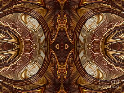 Digital Art - Petrified Wood Parquetry Fractal Abstract by Rose Santuci-Sofranko