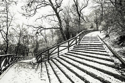 Photograph - Petrin Stairway. Snowy Walk In Prague  by Jenny Rainbow